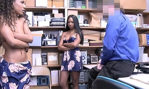 One Hot Black Ebony Petite Sisters Demi Sutra And Lala Ivey Have a go Triptych With Security Officer For No Cops Called
