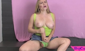 Busty shemale babe spews cum all go away from herself