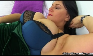 English added to fat titted milf Sabrina needs a marital-device bonking