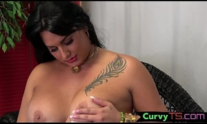 Chubby shemale indulge tugging indestructible cock