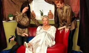 Super sexy blonde babe encircling an bridal