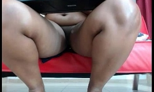 Black babe thither conceitedly tits added to shaved cunt teasing