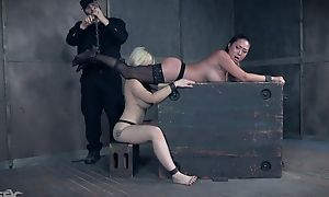 Two submissive beauties subjected beside various BDSM tortures